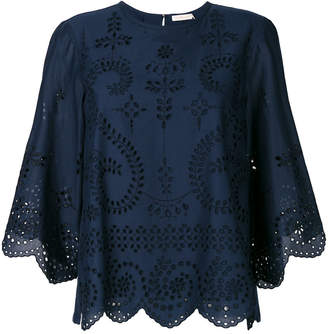 Tory Burch open embroidery blouse