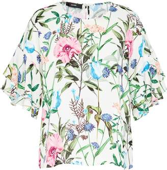 Hallhuber Crape Blouse With Meadow Flowers Print