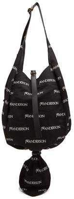 J.W.Anderson Logo Print Knot Canvas Hobo Bag - Womens - Black Multi