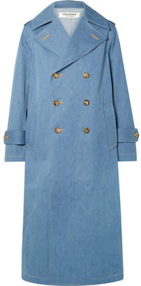 Junya Watanabe Double-breasted Denim Trench Coat - Blue