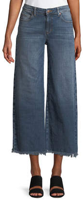 Eileen Fisher Organic Cotton Stretch-Denim Wide-Leg Ankle Jeans with Raw Edges, Petite