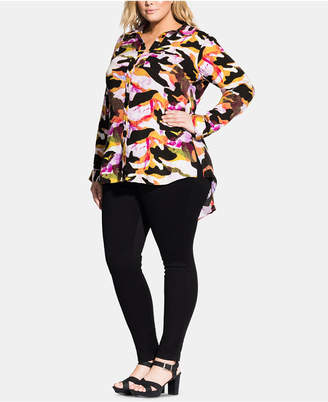 City Chic Trendy Plus Size Camo-Print Shirt