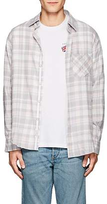 Rag & Bone MEN'S CHECKED COTTON FLANNEL FIT 3 SHIRT - PINK SIZE XL