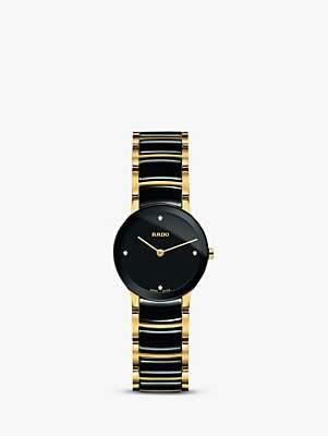 16eeef200 Rado R30189712 Women's Centrix Diamond Bi-Material Bracelet Strap Watch,  Gold/Black