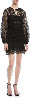 Self-Portrait Long-Sleeve Circle Floral Lace Mini Cocktail Dress