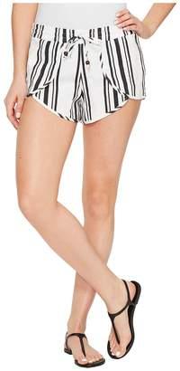 Plush Soleil Striped Linen Tulip Shorts Women's Shorts