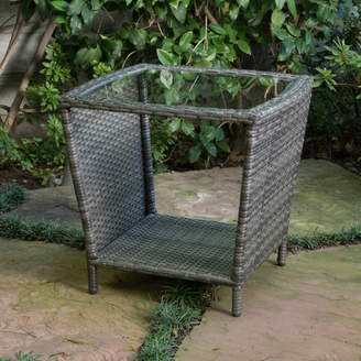 Mercury Row Caro Outdoor Wicker Side Table with Glass Top