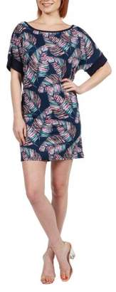 24/7 Comfort Apparel Women's Taylor Blue Feather Print Mini Dress