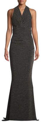Talbot Runhof Sleeveless Glitter-Jersey Mermaid Evening Gown