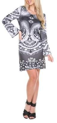 White Mark Women's Venetian Paisley Printed Dress