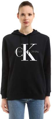 Calvin Klein Jeans Hooded Logo Printed Cotton Sweatshirt