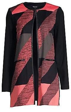 Misook Women's Abstract Longline Cardigan