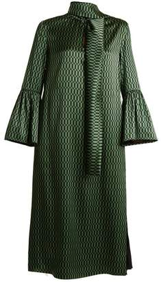 Fendi Puzzle-print tie-neck satin dress