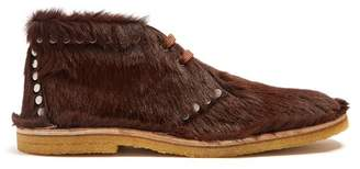 Prada Stud Embellished Calf Hair Desert Boots - Mens - Brown