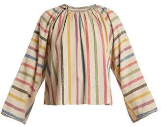 Ace&Jig Farrah Gathered Neck Striped Cotton Blouse - Womens - Beige Multi