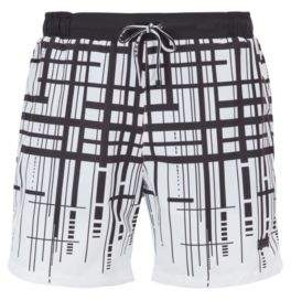BOSS Hugo Quick-dry swim shorts degrade check print M Open White