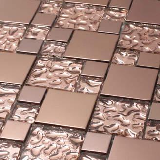 Giorbello SAMPLE - Venetian Glass and Aluminum Tile in Copper Goddess
