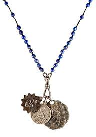 Miracle Icons Men's Beaded Pendant Necklace-Blue