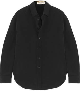 Saint Laurent Silk Crepe De Chine Shirt - Black