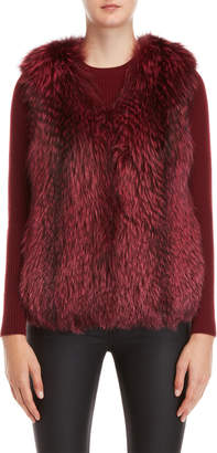 Yves Salomon Red Real Fur Vest