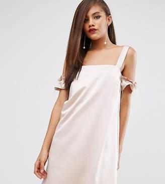 Asos Tall TALL Satin Cold Shoulder Raw Shift Dress