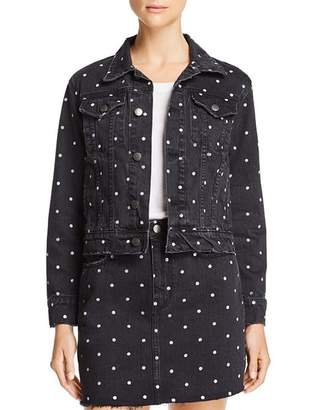 Current/Elliott The Baby Trucker Polka Dot Denim Jacket