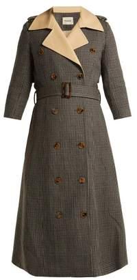 Khaite - Charlotte Houndstooth Wool Trench Coat - Womens - Brown Multi