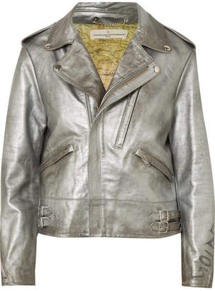 Golden Goose Chiodo Distressed Metallic Leather Biker Jacket - Silver