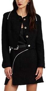 Alexander Wang Women's Zip-Detailed Metallic Wool-Blend Tweed Crop Jacket - Black