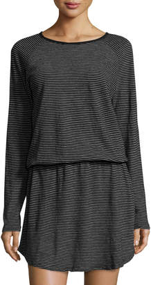 Allen Allen Stripe-Print Jersey Dress, Black $79 thestylecure.com