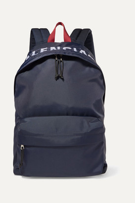 Balenciaga Wheel Embroidered Shell Backpack - Navy