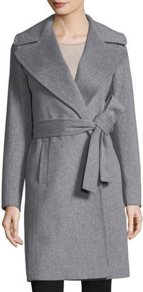 Fleurette Notched-Collar Wool Wrap Coat