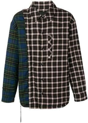 Nona9on colourblock plaid shirt jacket