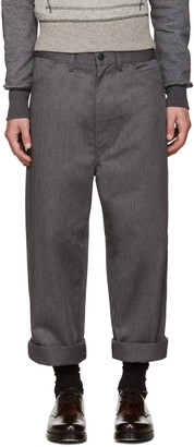 Junya Watanabe Grey Twill Trousers $365 thestylecure.com