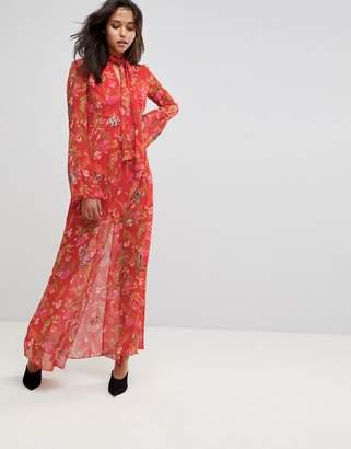 MACKINTOSH Millie Leopard Rose Print Maxi Dress