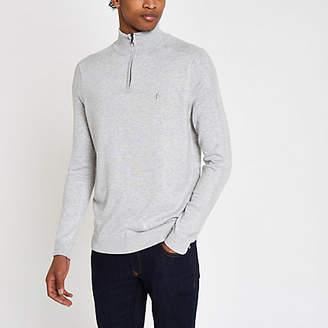 River Island Mens Grey slim fit funnel neck zip up jumper