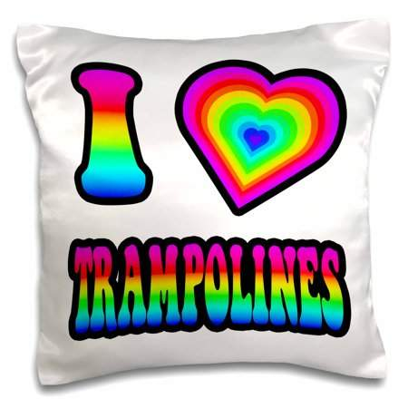 3dRose Groovy Hippie Rainbow I Heart Love Trampolines - Pillow Case, 16 by 16-inch