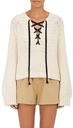 Ulla Johnson WOMEN'S MARLAND COTTON LACE-UP SWEATER - NATURAL SIZE L