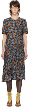 Acne Studios Navy Floral Pleats Dress