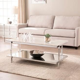 Southern Enterprises Karei Faux Marble Cocktail Table, Glam, Chrome