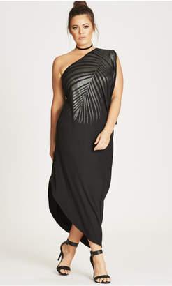 City Chic Shimmer Palm Maxi Dress