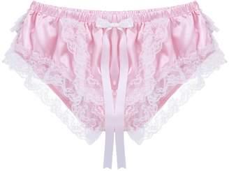 88b52cf629db inhzoy Men's Soft Shiny Ruffled Satin Lingerie Floral Lace Crossdresser  Sissy Panties Underwear Boxer Briefs