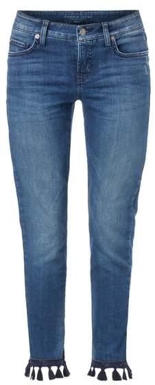 Stone Washed Slim Fit Jeans mit Zierquasten