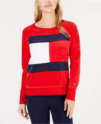 Tommy Hilfiger Logo Velour Sweatshirt, Created for Macy's