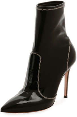 Gianvito Rossi Pointed-Toe Booties w/ Topstitching