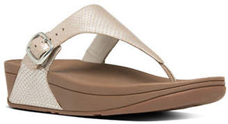 FitFlop Snake-Embossed Thong Sandals