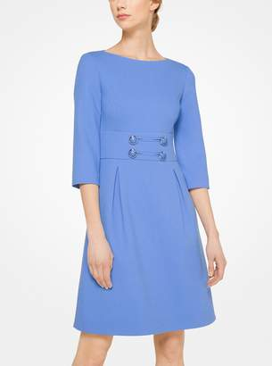 Michael Kors Stretch Boucle-Crepe Button-Front Dress