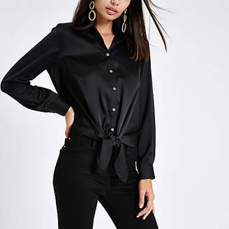 River Island Black satin tie front button-up shirt