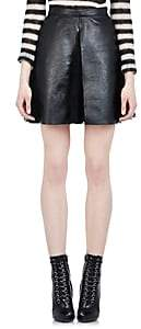 Saint Laurent Women's Leather & Lace Pleated Skirt - Black