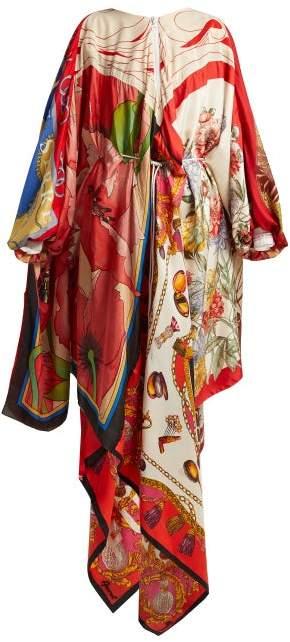 Marine Serre - Scarf Print High Neck Silk Dress - Womens - Multi